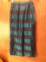 Anna Giardini 100 Percent Silk Size 8 Long Turquoise Skirt Red w Blue Stripes