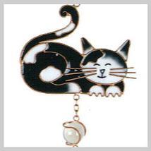 Black & White Cat Copper Small Wind Chime - $12.95