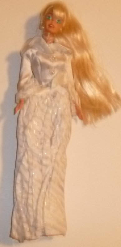 BARBIE Doll blonde ponytail wearing white evening gown top & skirt