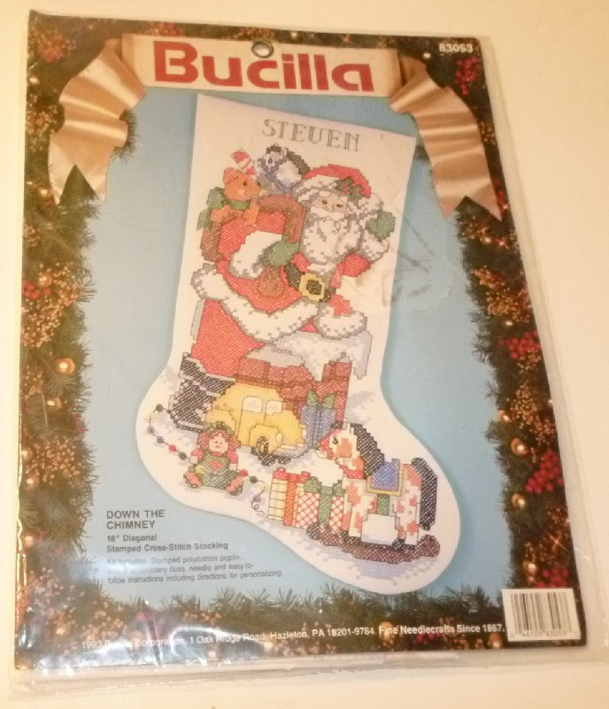 "BUCILLA Stamped Cross Stitch Xmas Santa #83053 DOWN THE CHIMNEY Stocking 18"" Kit"