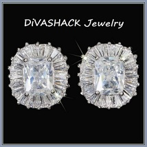 Cushion Cut White Sapphire Encircled Pave CZ Diamonds White Gold Stud Earrings