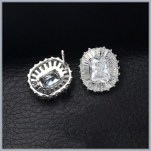 Cushion Cut White Sapphire Encircled Pave CZ Diamonds White Gold Stud Earrings image 2