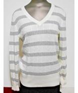 Tommy Hilfiger Woman Size L Ivory Gray Stripe VNeck Cotton Sweater Long ... - $15.64