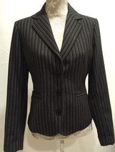 CAbi #364 Work Black Pin Striped Leopard Print Lined Joey Blazer Jacket ... - $34.49