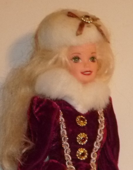 CE BARBIE Doll blonde wearing maroon gold evening gown with fur trim & hat