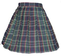 Women`s A-line Pleated Stripe plaid Summer Skirt(XL,Yellow green red stripes ) - $43.55