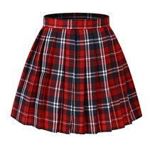 Women`s Japan School A-line Kilt Plaid Pleated Summer Skirts (L,Red blue ) - $40.58