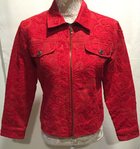 CHICO'S Rare Holiday Vintage Red Sequin Zipped Long Sleeve Jean Jacket S... - $29.99