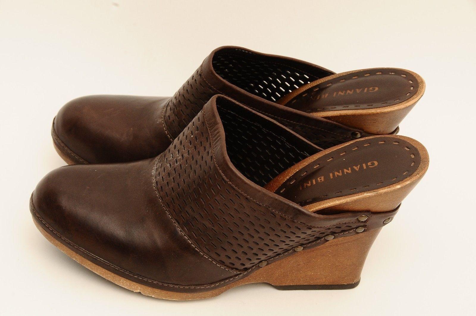 gianni bini brown leather slip on heel womens shoes size 9