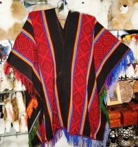 Typical peruvian red Poncho made of Alpacawool - $85.10