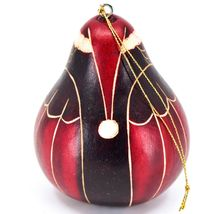 Handcrafted Carved Gourd Art Red Christmas Owl Holiday Ornament Made in Peru image 3