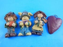 Lot of 4 Folk Art Country Christmas Ornaments Boy & Girl Rabbit, Heart Resin - $7.56
