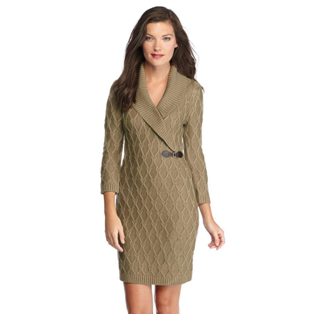 Calvin Klein Buckle-detail Shawl Collar Women's Sweater Dress (Taupe, Medium)