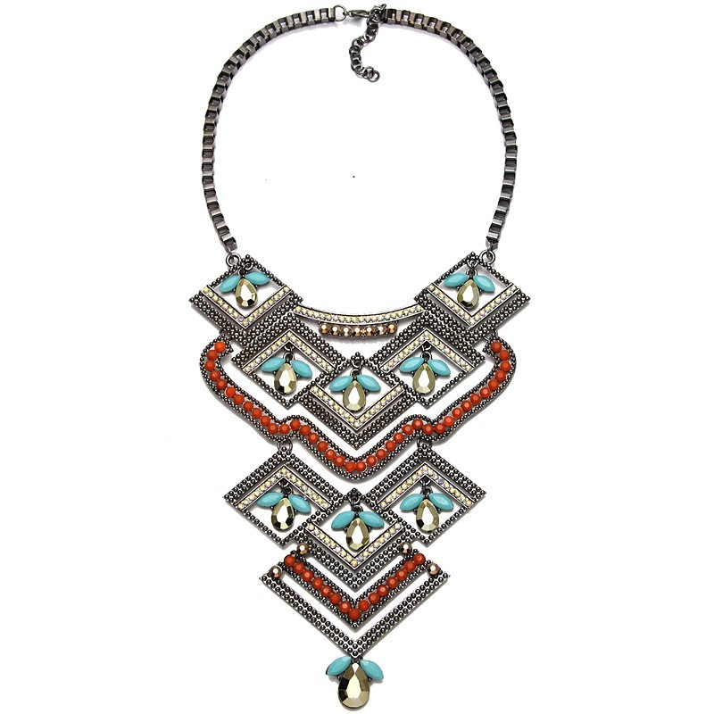 Tribal Style Multi Color Geometric Fashion Statement Women Party Necklace