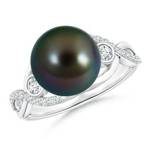 10mm Tahitian Cultured Pearl Diamond Infinity Ring 14K White Gold Size 7 - $2,305.24