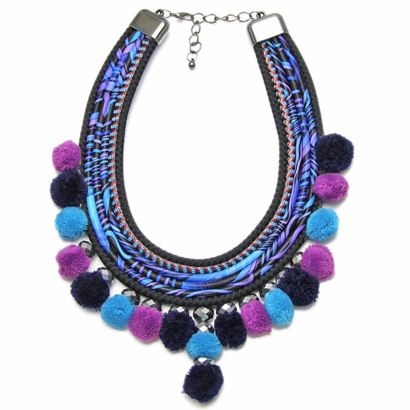Boho Hippie Tribal Multi Pom Pom Chunky Statement Necklace - Blue Multi
