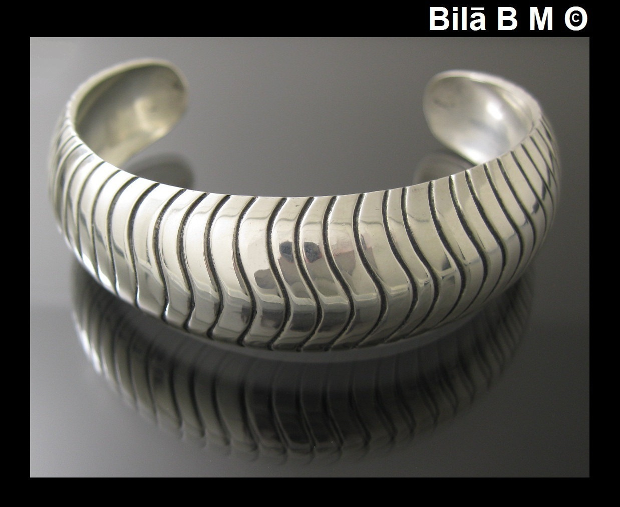 MODERNIST-LOOK Cobra Design HEAVY 925 STERLING Silver CUFF - 40 grams (1.4 oz.)