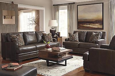 Ashley Corvan Living Room Set 3pcs Genuine Leather Antique Contemporary Style