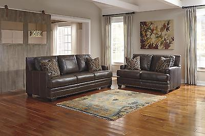 Ashley Corvan Living Room Set 2pcs Genuine Leather Antique Contemporary Style