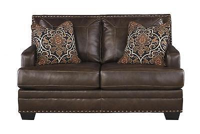 Ashley Corvan Living Room Loveseat Genuine Leather Antique Contemporary Style
