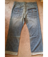 CALVIN KLEIN young mens jeans Size 38 Loose Fit light wash cuffed blue j... - $15.00