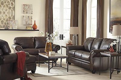 Ashley Bristan Living Room Set 4pcs Top Grain Leather Walnut Traditional Style