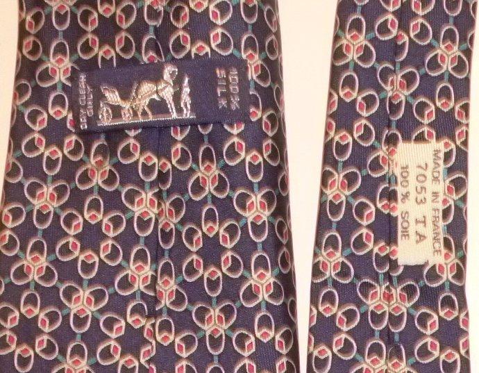 HERMES Silk TIE Necktie 7053 TA geometic design