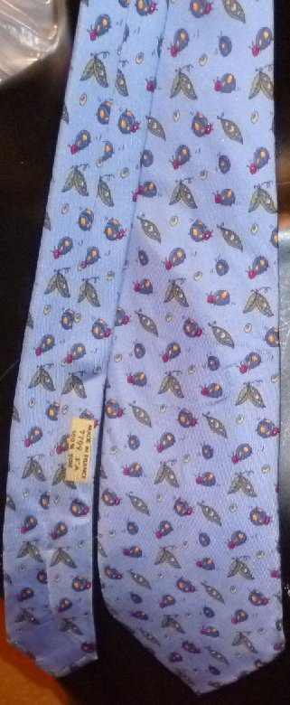 HERMES Silk TIE Necktie 7799 FA Ladybug pea pod design blue background