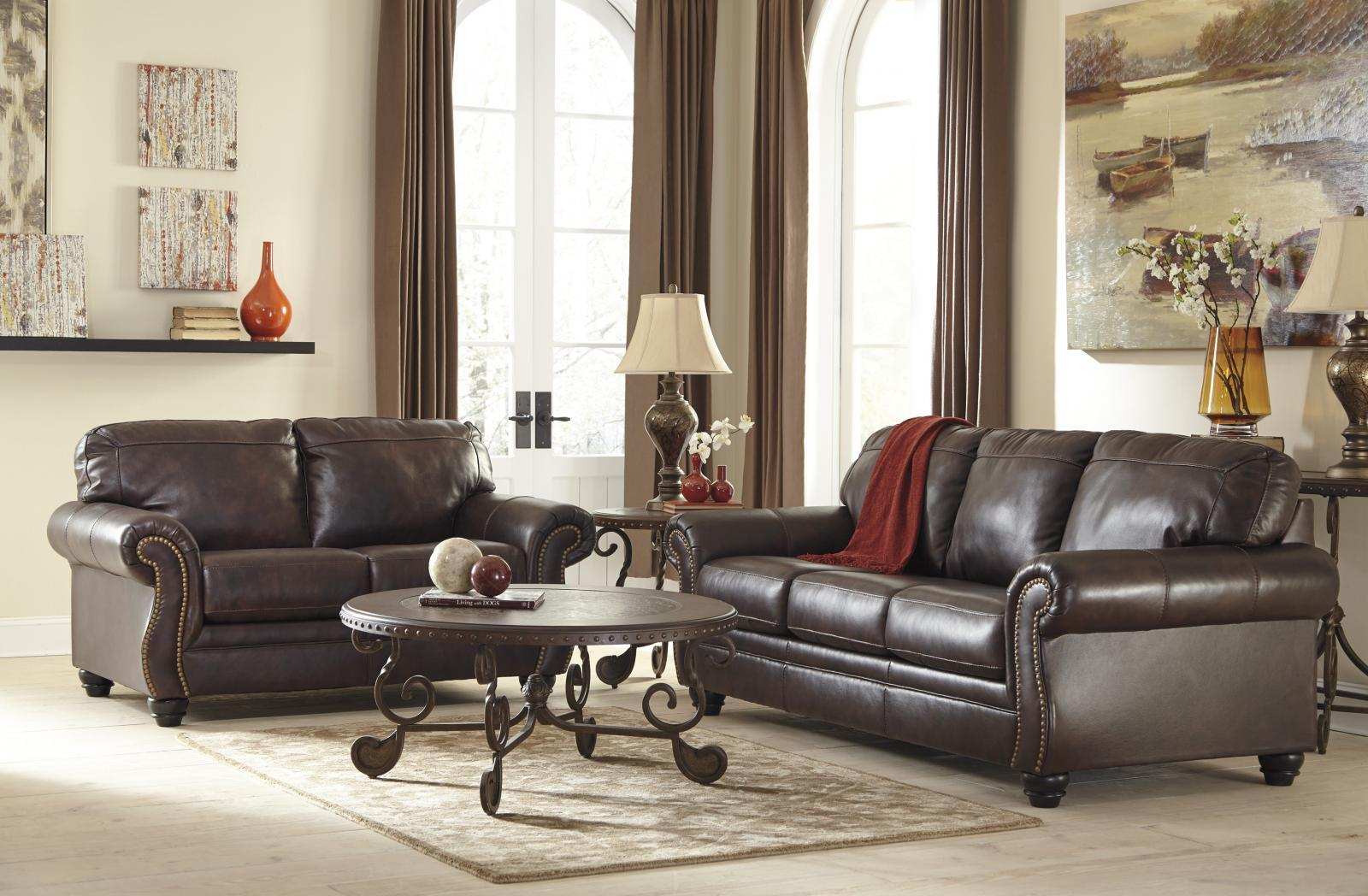 Ashley Bristan Living Room Set 2pcs Top Grain Leather Walnut Traditional Style