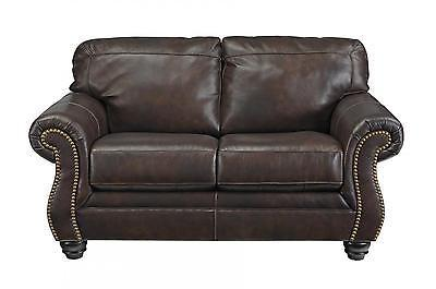 Ashley Bristan Living Room Loveseat Top Grain Leather Walnut Traditional Style
