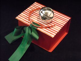 Polar Bear Round Silver Sleigh Bell in Elf Deco I Believe Box Express From th...