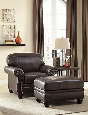 Ashley Bristan Living Room Chair with Ottoman in Walnut Traditional Style