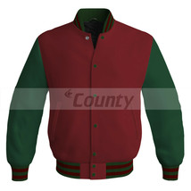 Letterman Baseball Super College Bomber Jacket Sports Maroon Forest Gree... - $49.98+