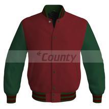 Letterman Baseball Super College Bomber Jacket Sports Maroon Forest Gree... - $49.98+