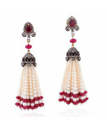 High Quality Victorian Style 4.25Ctw Rose Cut Diamond Ruby Pearl Earring... - $529.00