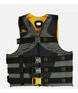 STEARNS BLACK/YELLOW INFINITY 4 BUCKLE 2XL LIFE VEST BOATING PERSONAL FL... - $29.99