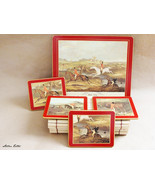 Vintage Lady Clare Full Cry Fox Hunters Place Mat and Coasters - Set of 5 - $23.99