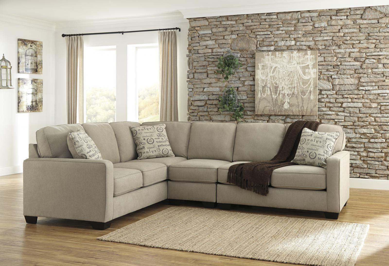 Ashley Alenya Living Room Sectional with Armless Chair in Quartz Right Facing