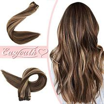 "Easyouth Natural Hair Weft Remy Human Hair Sew in Hair Extensions 14"", 70g, Colo image 2"