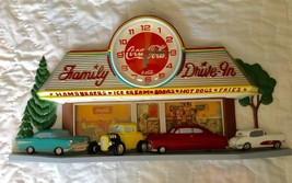 New Haven 50's Family Drive In Diner Wall Clock w/ Hot Rods & Coke Cola - $29.99