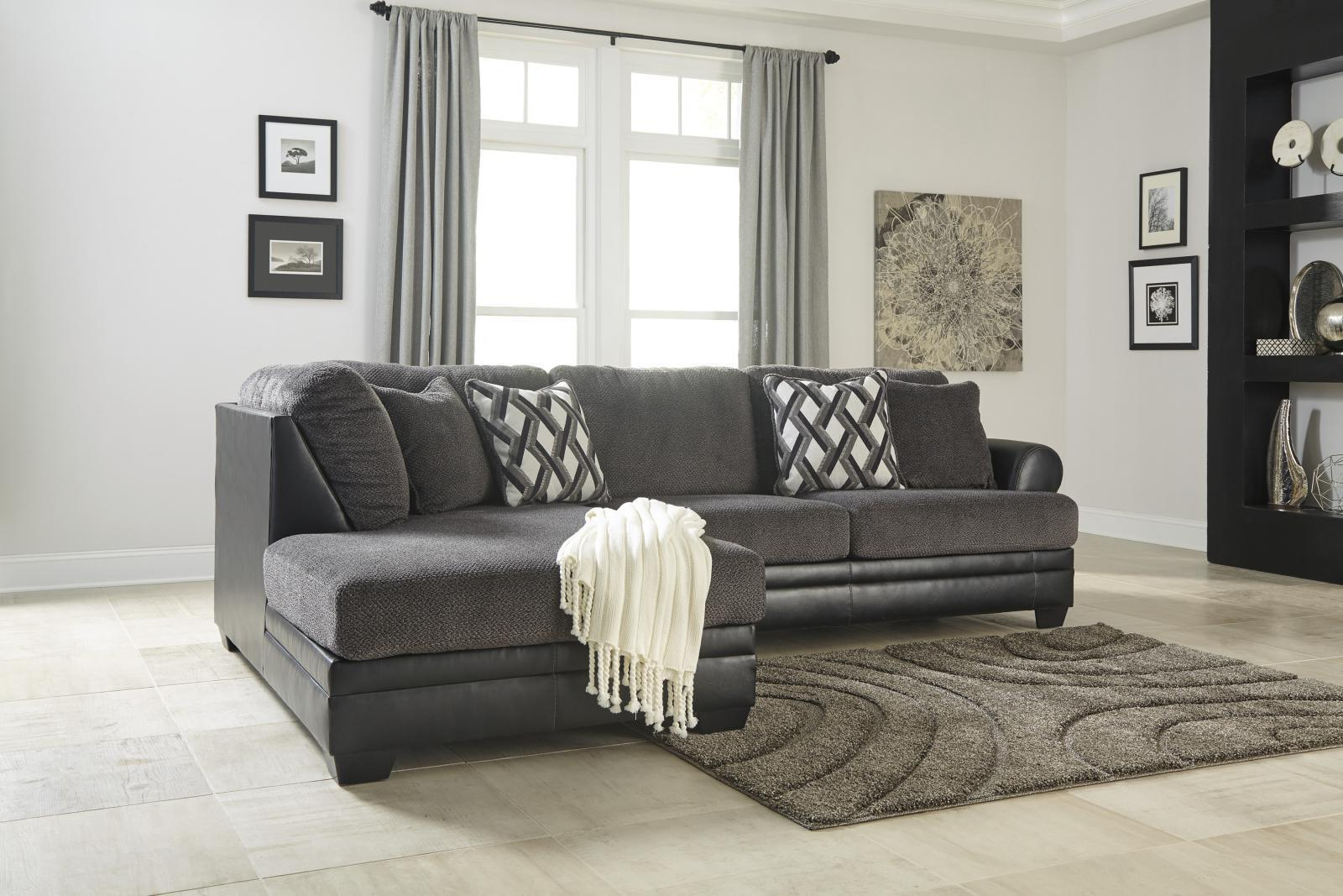 Ashley Kumasi Living Room Sectional 3pcs in Smoke Contemporary Left Facing