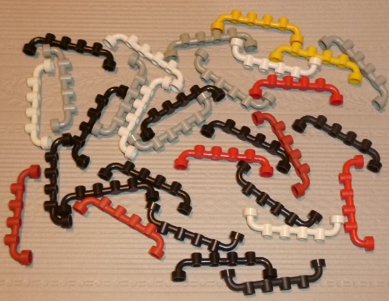 LEGO Parts lot 30 Bar 1 x 6 with Studs Open mixed color