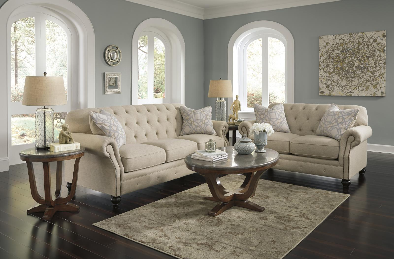 Ashley Kieran Living Room Set 2pcs in Natural Twill Upholstery Traditional Style