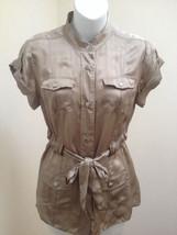 Banana Republic Petite XS Top Silver Gray Silk Safari Belted Short Sleeve Shirt  - $23.48