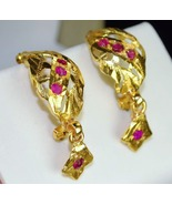 Ruby Earrings 23k Solid Baht Gold Thai Burmese ... - $455.00