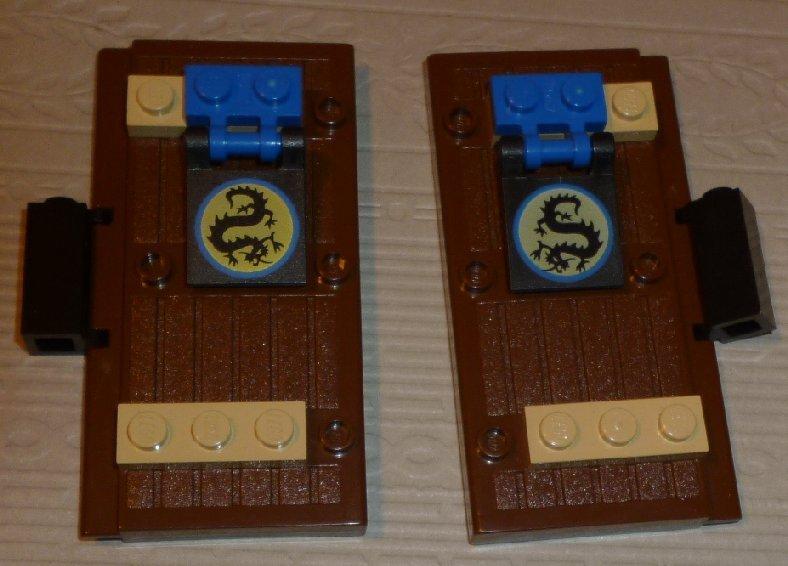LEGO Parts pair of Brown retangular Castle DOORS decorated