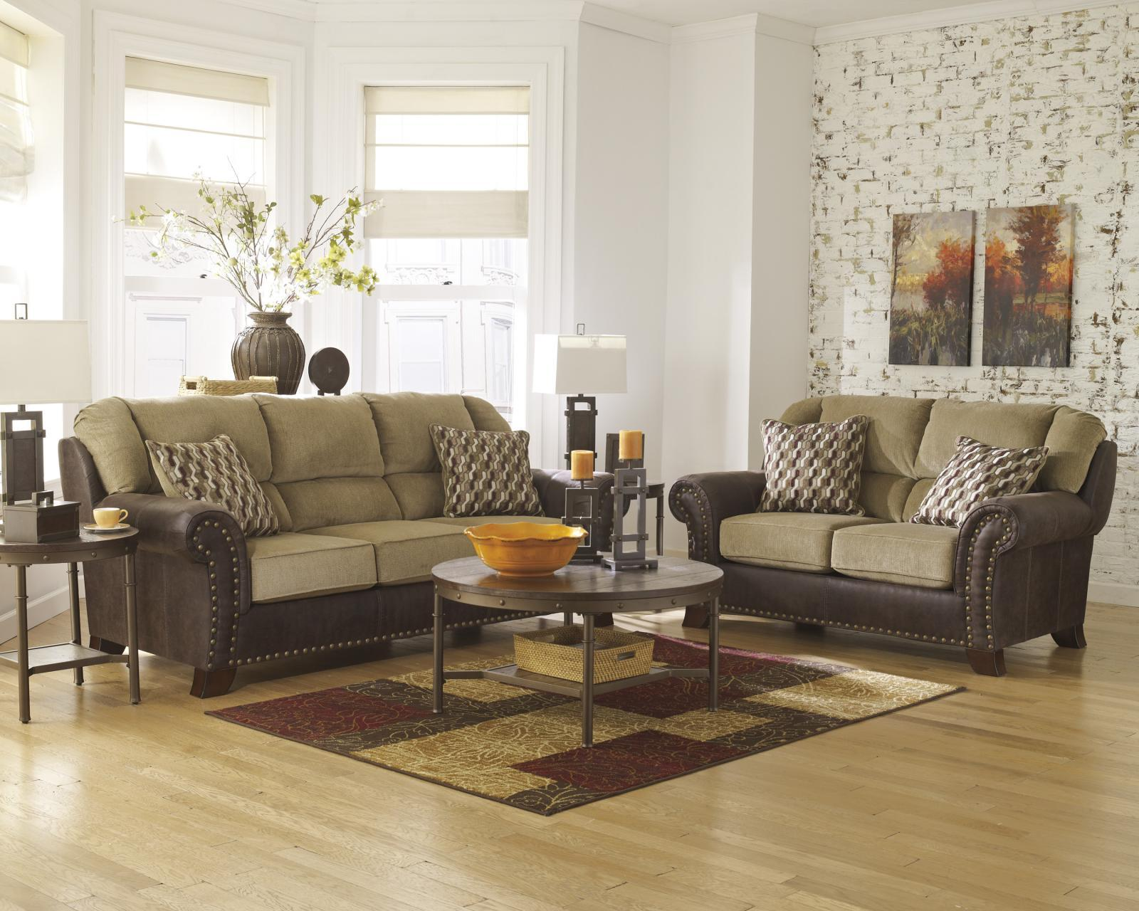 Ashley Vandive Living Room Set 3pcs in Sand Upholstery Fabric Contemporary Style