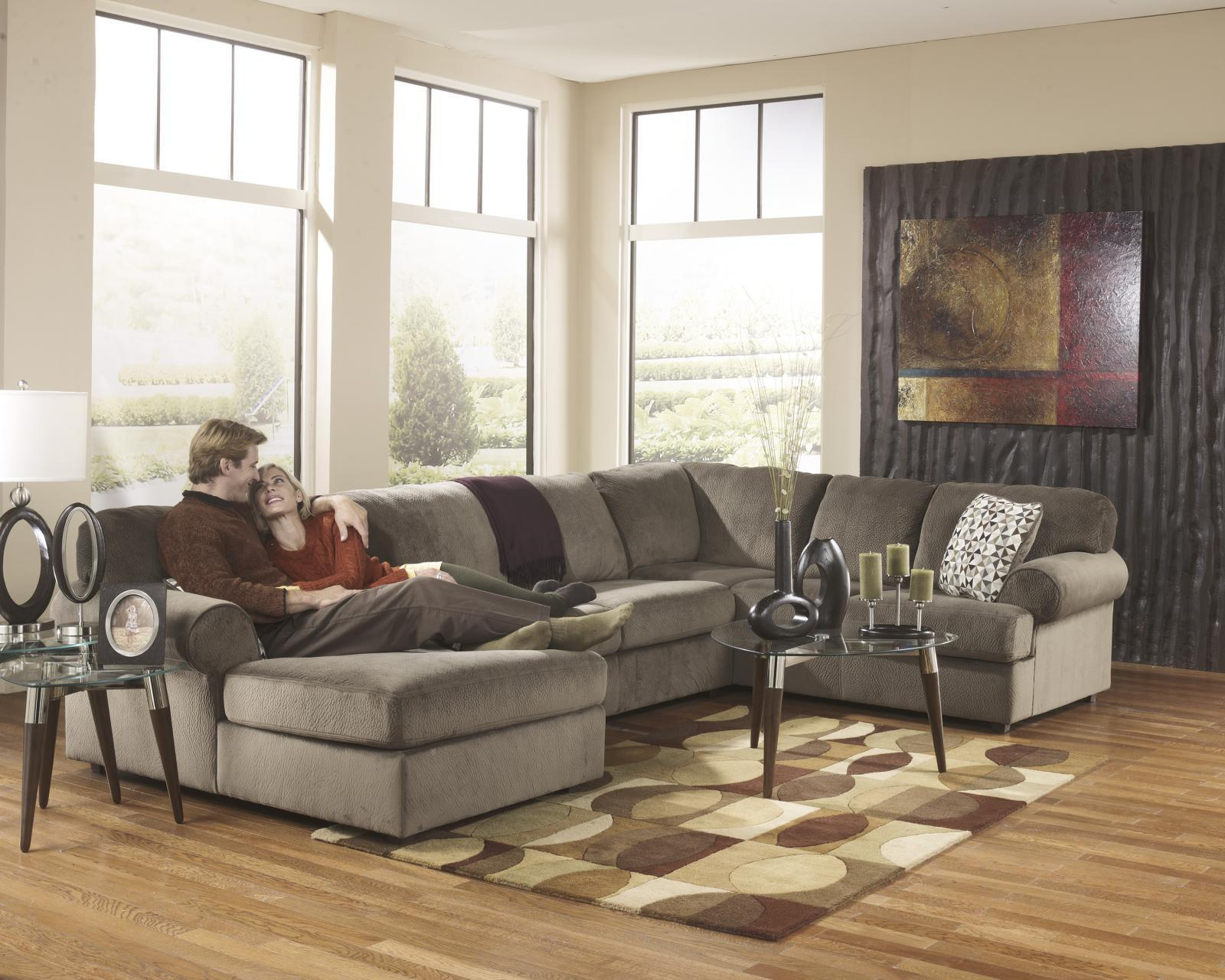 Ashley Jessa Place Living Room Sectional 3pcs in Dune Contemporary Left Facing