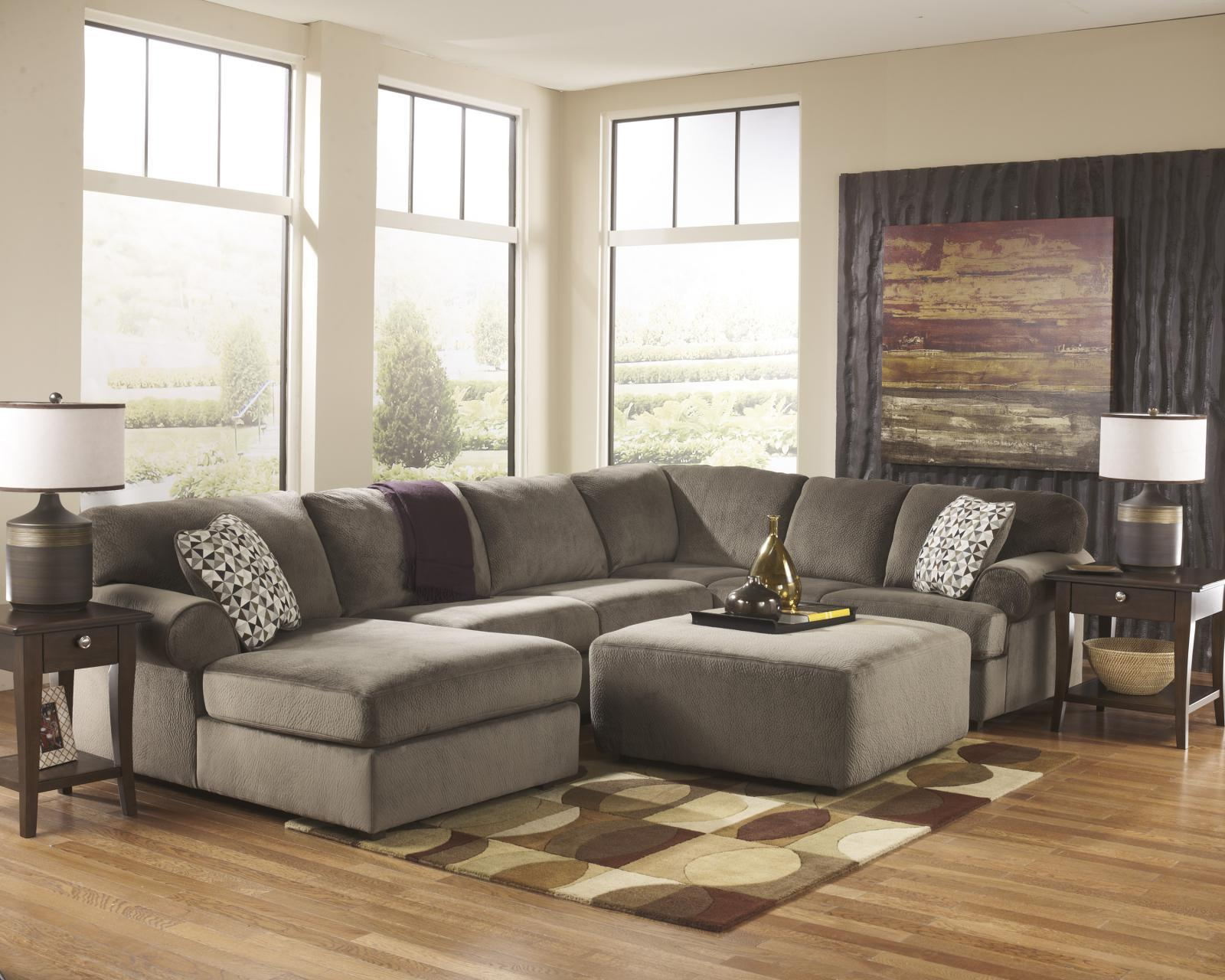Ashley Jessa Place Living Room Sectional 4pcs in Dune Contemporary Left Facing