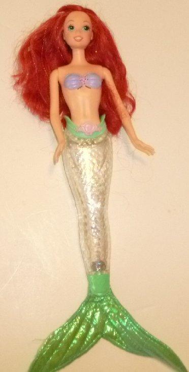 "LITTLE MERMAID ARIEL talking doll built-in outfit w/light-up fin 13"""
